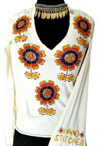 Joystick Bohemian Embroidered Top Cream