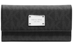 Michael Kors Michael Kors Black Monogram Saffiano Jet Set Large Checkbook Wallet