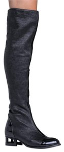 Jeffrey Campbell Knee High Over The Knee Chunky Heel Zipper Closure Leather Black Boots