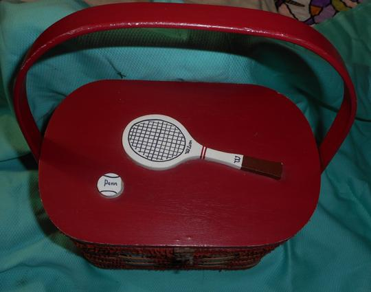 Other Vintage Woven Wood Hand Made Burlap Lined Basket Purse Tote in Red Image 1