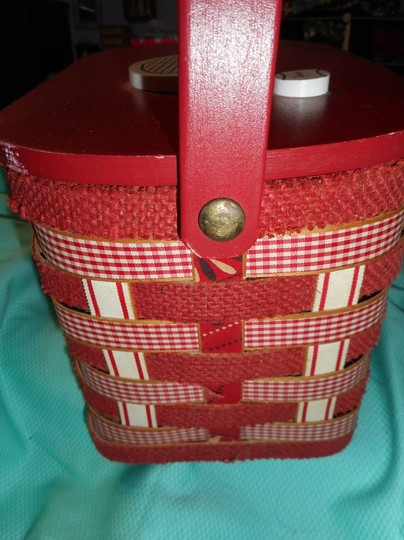 Other Vintage Woven Wood Hand Made Burlap Lined Basket Purse Tote in Red Image 5