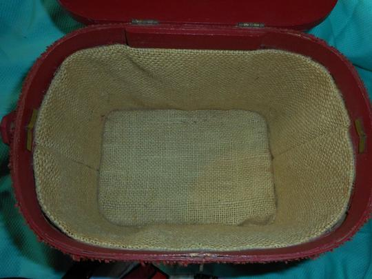 Other Vintage Woven Wood Hand Made Burlap Lined Basket Purse Tote in Red Image 6