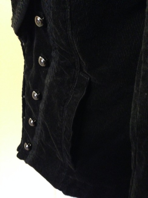 White House | Black Market Unique Wear Dressy Or Casual Gross Grain Ribbon Trim And Top Stitching Front Decorative Buttons With Hook And Eye Black Blazer