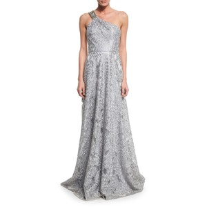 David Meister Silver Embellished One Shoulder Silver Gray Embroidered Gown Dress