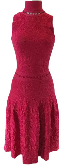 Preload https://img-static.tradesy.com/item/21158060/parker-red-alina-pointsettia-metallic-jacquard-knit-high-neck-fit-and-flare-short-workoffice-dress-s-0-1-650-650.jpg