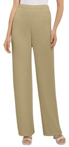 St. John Knit Stretchy Classic Comfortable Wide Leg Pants Natural Khaki