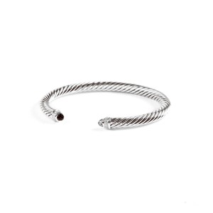 David Yurman Cable Classics Bracelet with Smoky Quartz 5mm Size Medium $625 NEW
