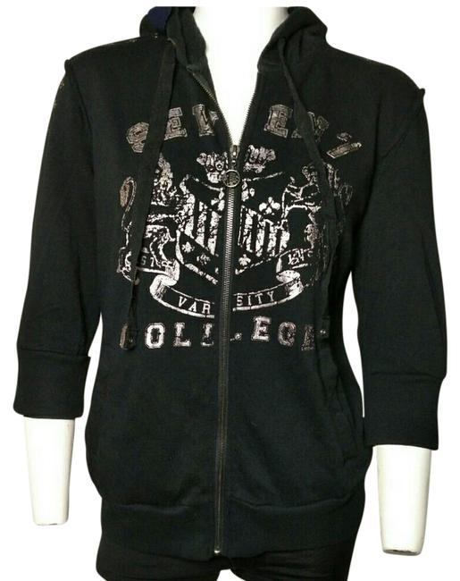Item - Black with Silver Lettering Varsity French Terry Sweatshirt/Hoodie Size 12 (L)