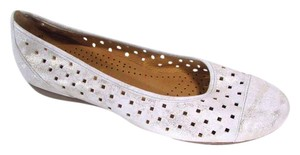 Gabor Perforated Leather Casual Metallic Gray Flats