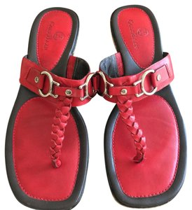 Cole Haan Nike Air Leather Flip Flops Red Sandals