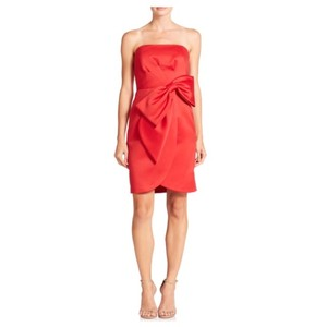 MILLY Strapless Bow Waist Cocktail Dress