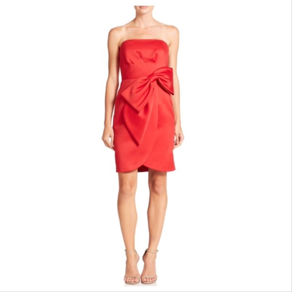MILLY Red Strapless Bow Wasit Short Cocktail Dress Size 6 (S) - Tradesy