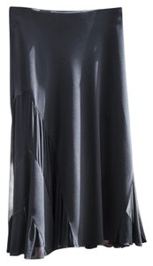 Donna Karan A-line Sheer Flowy Designer Posh Skirt Black