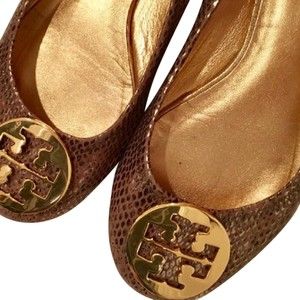 Tory Burch Brown/Tan with Gold Hardware Flats