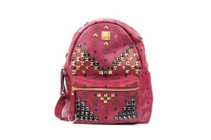 MCM Monogram Leather Studded Backpack
