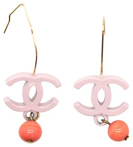 Chanel #11328 CC dangle ball on gold hardware hook wire earrings