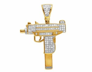 Other Men's 10K Yellow Gold Real Diamond Uzi Gun Pendant Charm 7/10 CT 1.7
