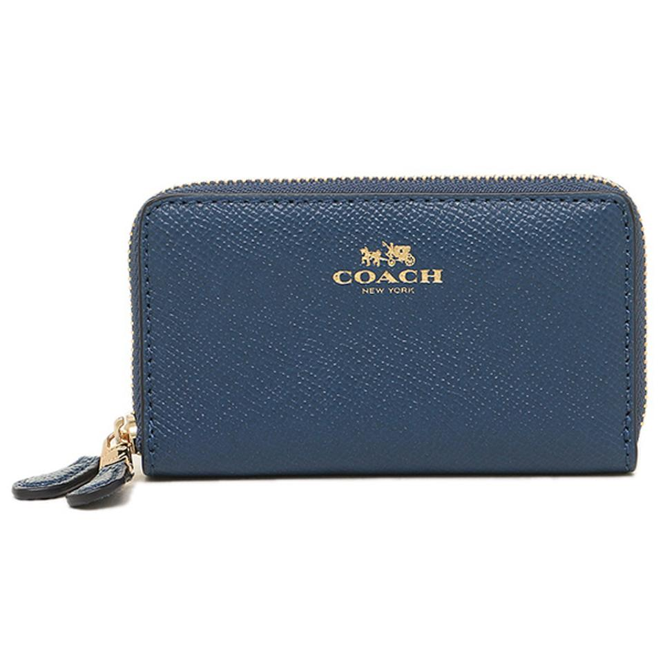 Coach Marina Blue Crossgrain Sm Double Zip Coin Purse Card