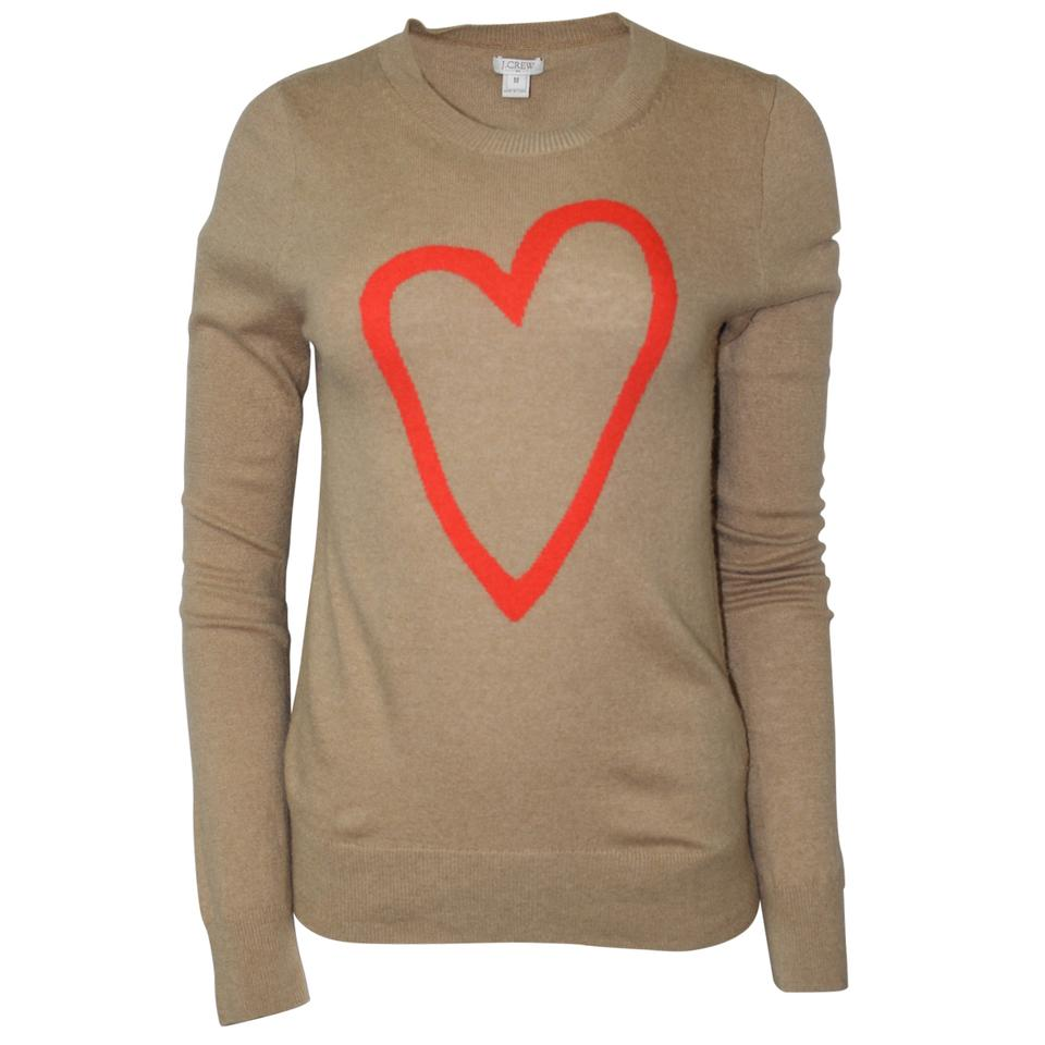 Pre Owned Factory >> J Crew Pre Owned Factory Intarsia Heart Beige Sweater 60 Off Retail