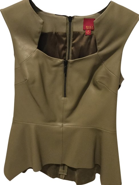 G.I.L.I. L Sleeveless Faux Leather and Ponte with Peplum Hem Olive Top G.I.L.I. L Sleeveless Faux Leather and Ponte with Peplum Hem Olive Top Image 1
