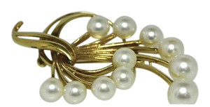 Mikimoto Mikimoto Brooch Vintage 14k Gold 11 Pearl Cluster Pin Bow