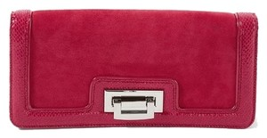White House | Black Market Suede Leather Snakeskin Red Clutch