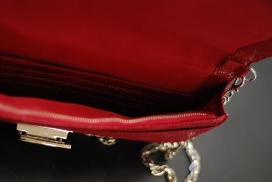 White House | Black Market Suede Leather Snakeskin Chain Crossbody Red Clutch