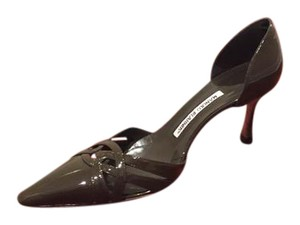 Manolo Blahnik Olive Green Patent Pumps