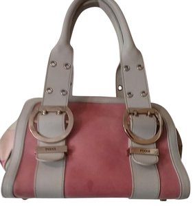 Emilio Pucci Satchel in Grey and Pink leather/ silver metal trim