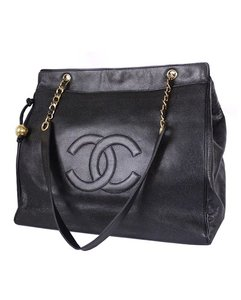 Chanel Vintage Lambskin Tote Overnight Black Travel Bag