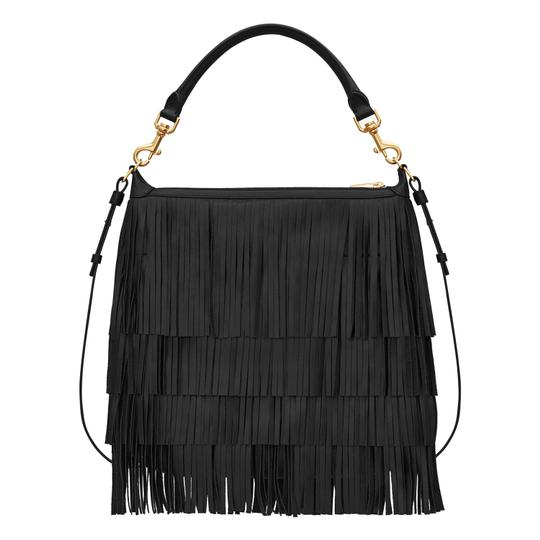 Saint Laurent Fringe Ysl Leather Hobo Bag Image 1
