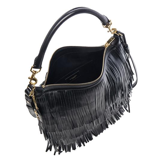 Saint Laurent Fringe Ysl Leather Hobo Bag Image 2