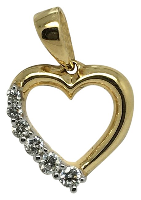 18k Solid Yellow Gold Natural Diamond Small Heart Pendant Charm 18k Solid Yellow Gold Natural Diamond Small Heart Pendant Charm Image 1