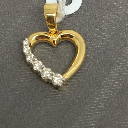 Other 18K Solid Yellow Gold Natural Diamond Small Heart Pendant Image 1