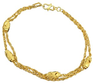 Other 24K Solos Gold Diamond Cut double Chain Bracelet