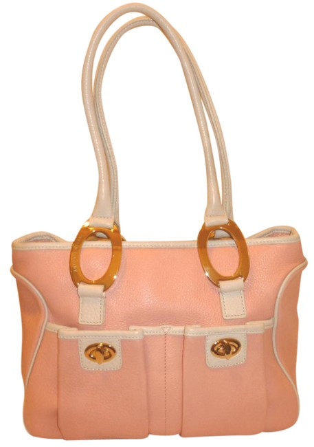 Antonio Melani Refurbished Pink+cream Satchel Handbag Pink and Cream Leather Shoulder Bag Antonio Melani Refurbished Pink+cream Satchel Handbag Pink and Cream Leather Shoulder Bag Image 1
