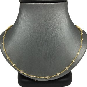 Other 14K Yellow Gold Natural Bezel Set Diamond and Fower Necklace
