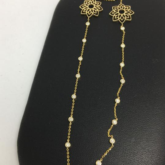 Other 14K Yellow Gold Natural Bezel Set Diamond and Fower Necklace Image 2