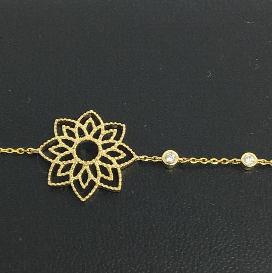 Other 14K Yellow Gold Natural Bezel Set Diamond and Fower Necklace Image 5
