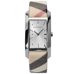 Burberry Burberry Silver Dial Nova Check Canvas Strap Ladies Watch BU9403