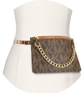 Michael Kors Fanny Pack Belt Monogram Gold Tone Hardware Wristlet in Chocolate