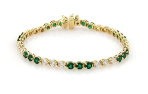 Tiffany & Co. Victoria 6ct Diamonds & Emerald 18k Yellow Gold Floral Clasp Bracelet
