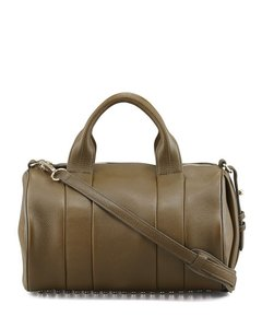 Alexander Wang Leather Duffle Textured Studded Satchel in Olive Green/Gold