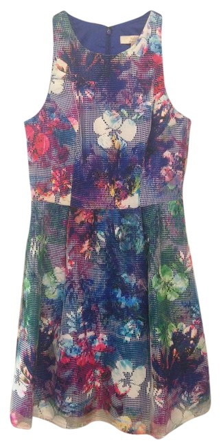 Aidan Mattox Blue Pink Green Multi Sleeveless Mid-length Short Casual Dress Size 6 (S) Aidan Mattox Blue Pink Green Multi Sleeveless Mid-length Short Casual Dress Size 6 (S) Image 1