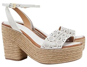 Tory Burch Tory Roselle White Tory Espadril Rosell Tory Roselle Platfor Tory Espadril White Tory Sz9.5 White/Jute Sandals