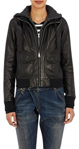 R13 Bomber Flight Hooded Black / Charcoal Leather Jacket