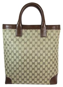 Gucci Beige Monogram Gg Leather Tote in Guccissima