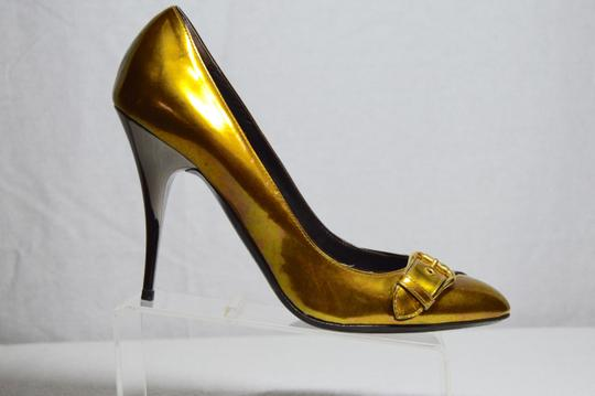 Giuseppe Zanotti Made In Italy Gunmetal Heel Metallic Gold Pumps Image 1
