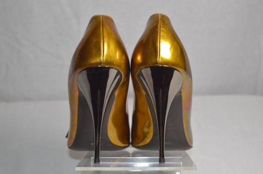 Giuseppe Zanotti Made In Italy Gunmetal Heel Metallic Gold Pumps Image 2