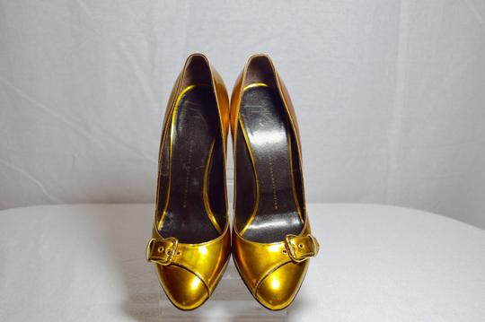 Giuseppe Zanotti Made In Italy Gunmetal Heel Metallic Gold Pumps Image 4